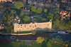 An aerial view of Newark Castle in Nottinghamshire at sunset.