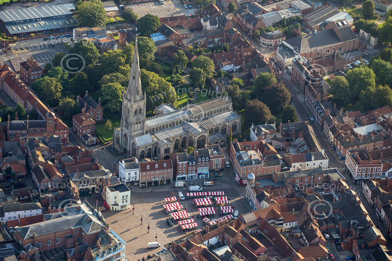 Aerial photo of Newark Market Place.