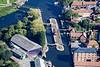 Aerial photo of Newark Town Lock.
