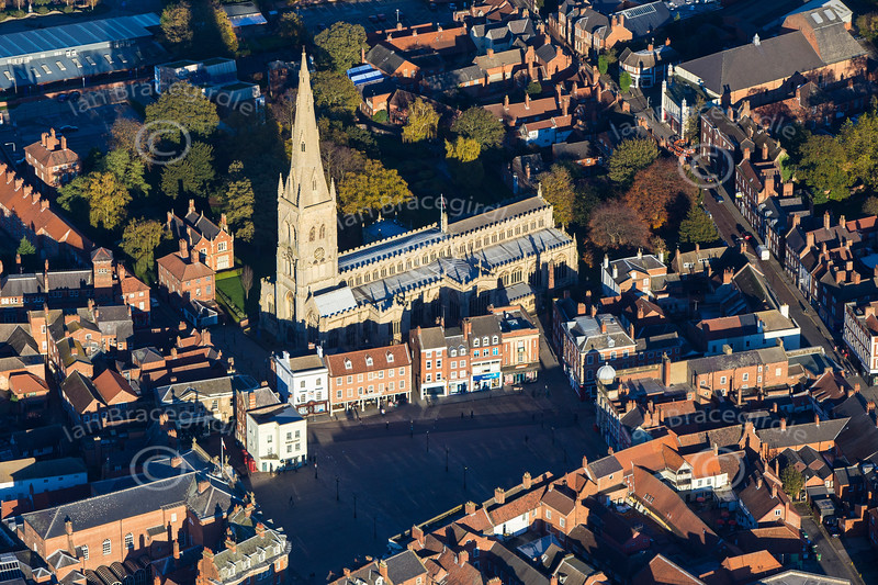 Aerial photo of Newark Parish Church and Market Place.