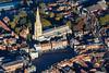 Aerial photo of Newark Parish Church and Market Place.