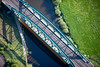 Aerial photo of a railway bridge in Newark.