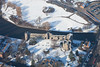 An aerial photo of Newark Castle in the snow.