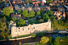 An aerial view of Newark Castle in Newark on Trent, Nottinghamshire.