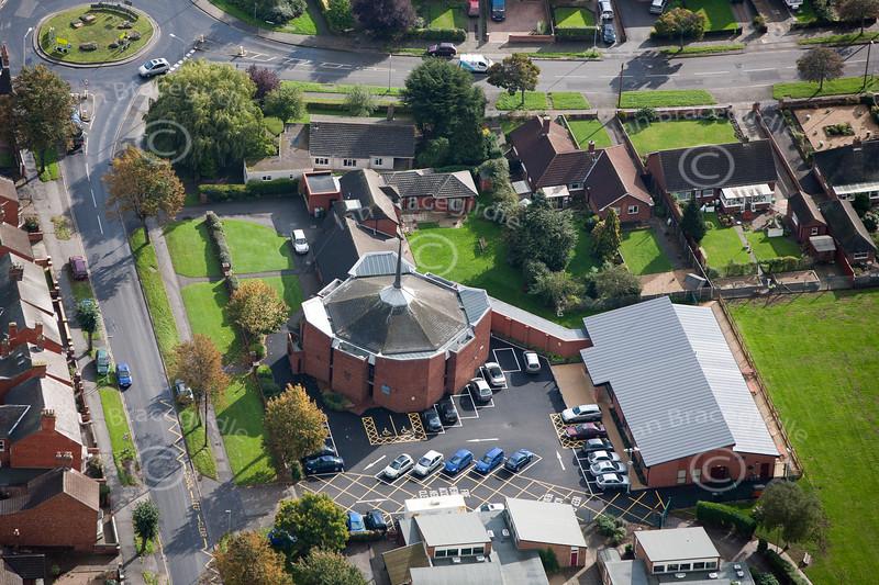 An aerial photo of Newark Catholic Church.