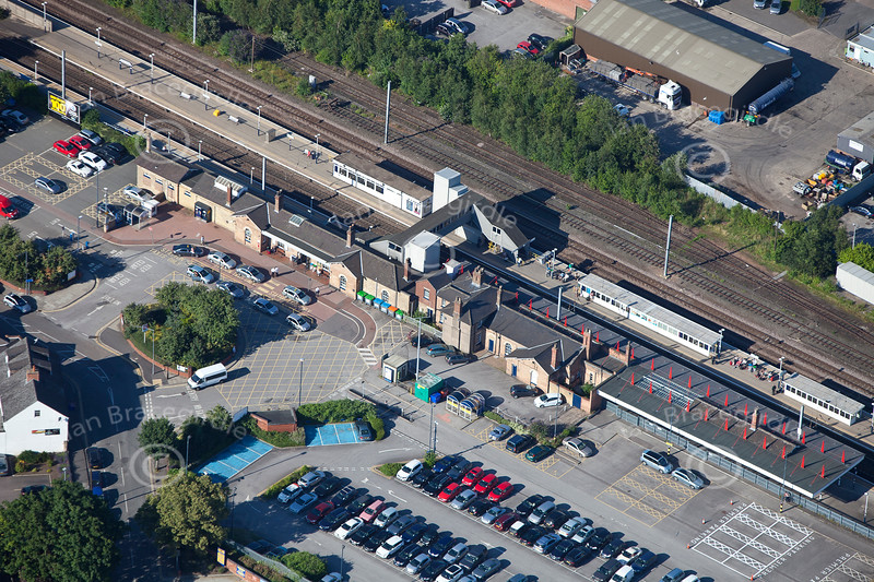 An aerial photo of Newark Northgate Railway Station.