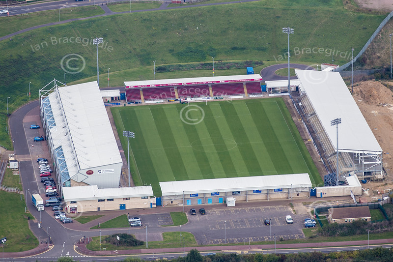 Aerial photo of Sixfields Stadium, Northampton.