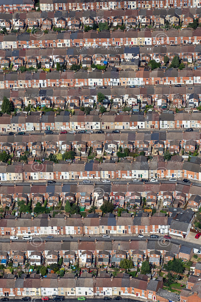 Aerial photo of terrace houses in Northampton.