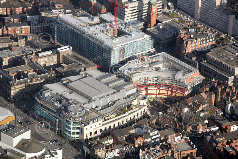 The Corner House and Trinity Square in Nottingham from the air.
