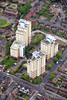The Four B's tower blocks in Radford, Nottingham from the air.