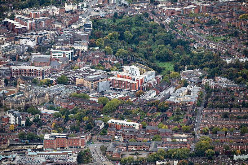 Aerial photo of Nottingham Trent University.