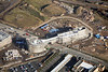 Nottingham University under construction seen from the air.