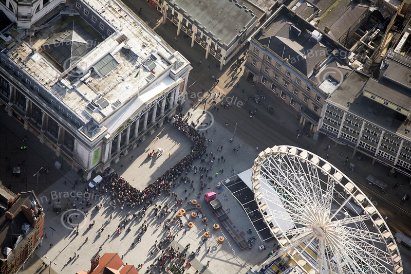 The Old Market Square in Nottingham from the air.