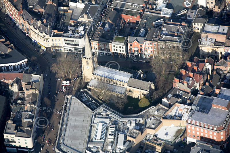 St. Peter's Church in Nottingham from the air.