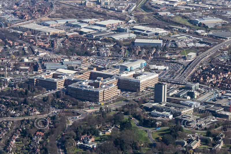 The Queen's Medical Centre in Nottingham from the air.