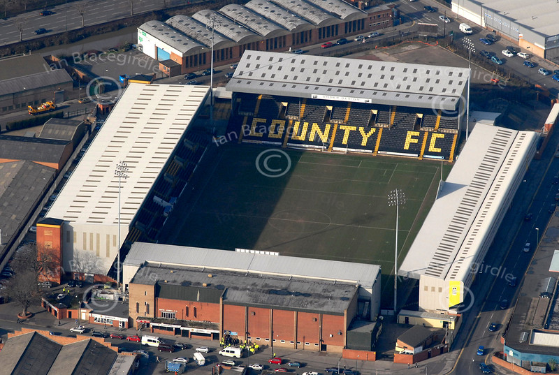 Meadow Lane football stadium in Nottingham from the air.