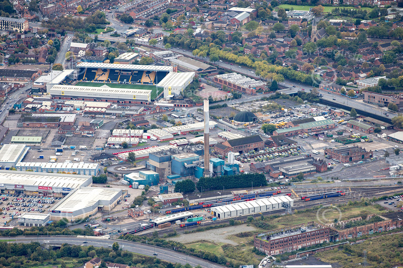 Aerial photo of the Nottingham Incinerator.