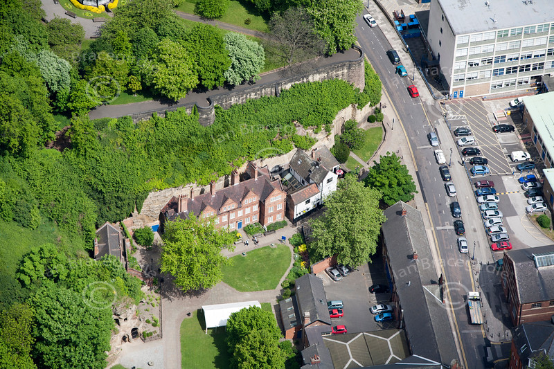 The Trip to Jerusalem pub in Nottingham from the air.