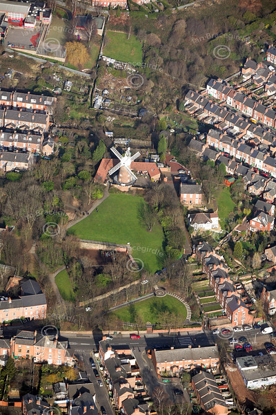 Green's Mill in Sneinton in Nottingham from the air.