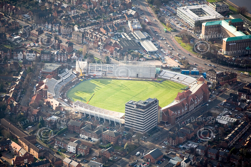 Nottinghamshire County Cricket Ground in Nottingham from the air.