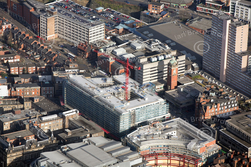 Trinity Square in Nottingham from the air.