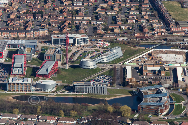 Jubilee Campus in Nottingham from the air.