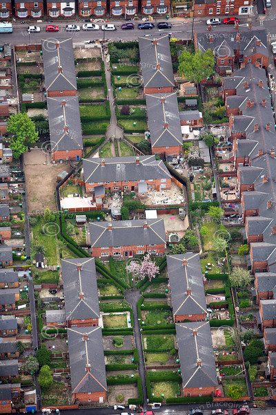 Housing in Nottingham from the air.