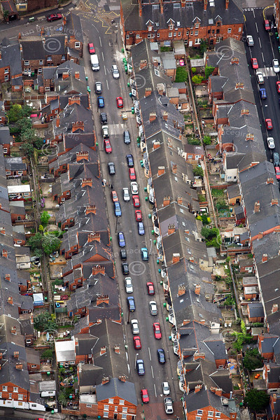 Urban terrace style  housing in Nottingham from the air.