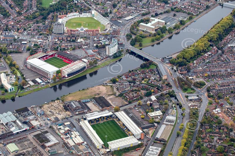 Aerial photo of Nottingham's three main sporting grounds.