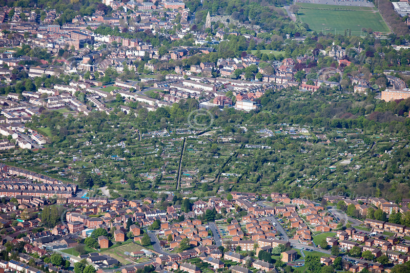 St. Anne's Allotments in Nottingham from the air.