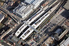 Railway Station in Nottingham from the air.