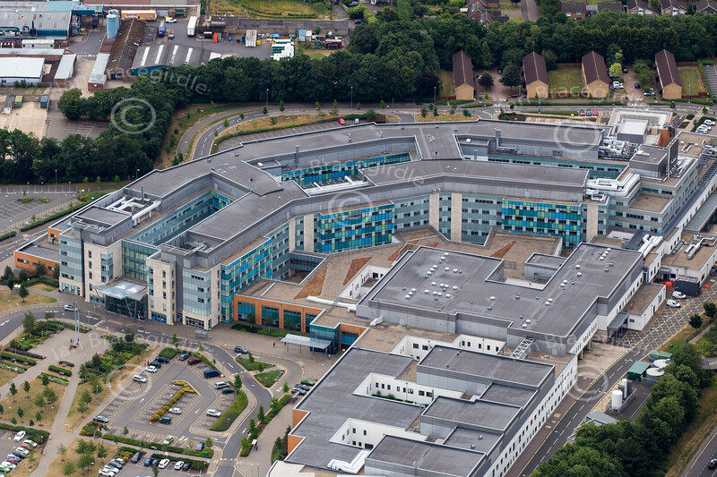 An aerial view of Peterborough City Hospital.
