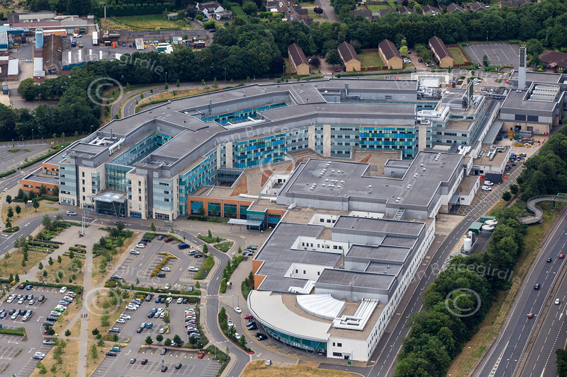 An aerial photo of Peterborough City Hospital.