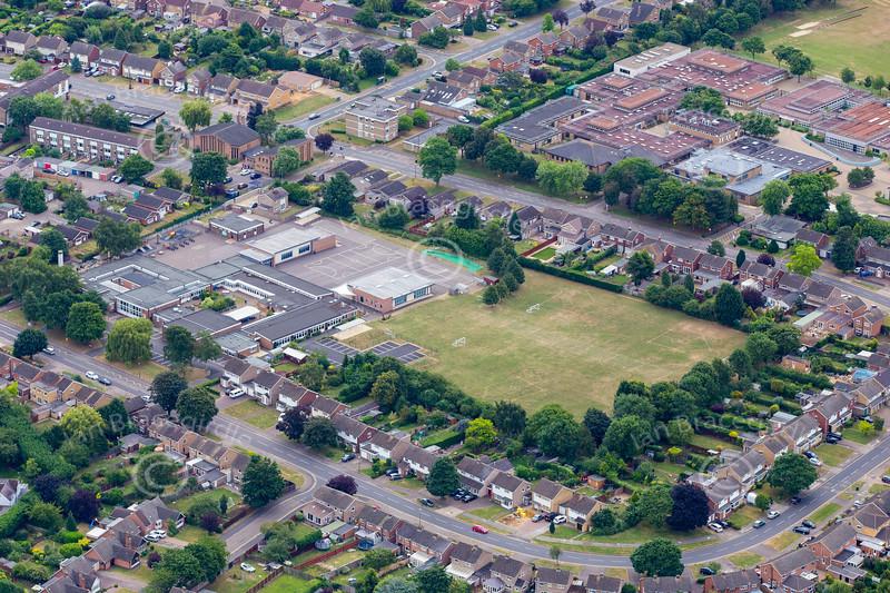 Aerial photo of the Thorpe Primary School in Peterborough.