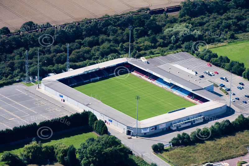 An aerial image of Scunthorpe football ground.