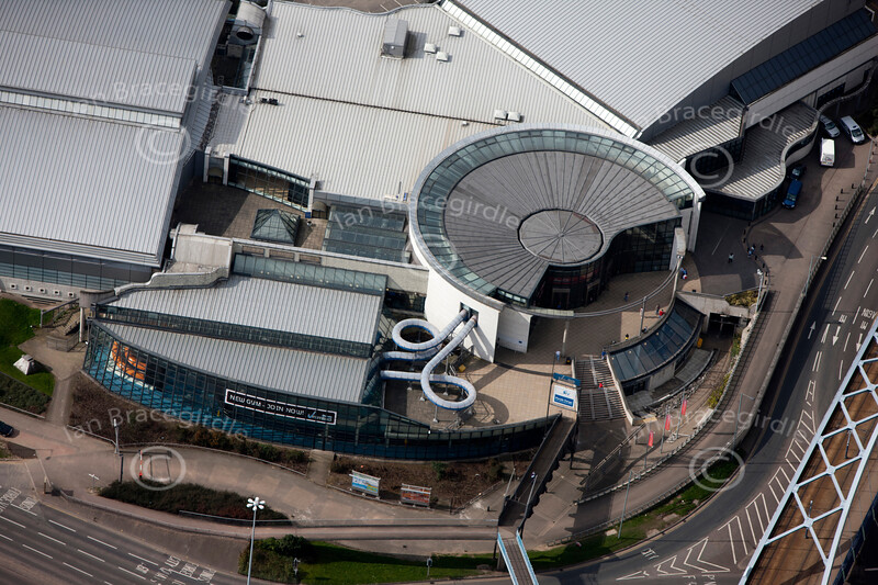 Aerial photo of Ponds Forge, Sheffield.
