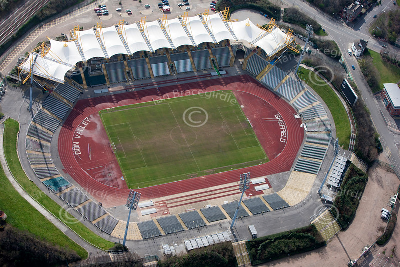 Aerial photo of the Don Valley Stadium.