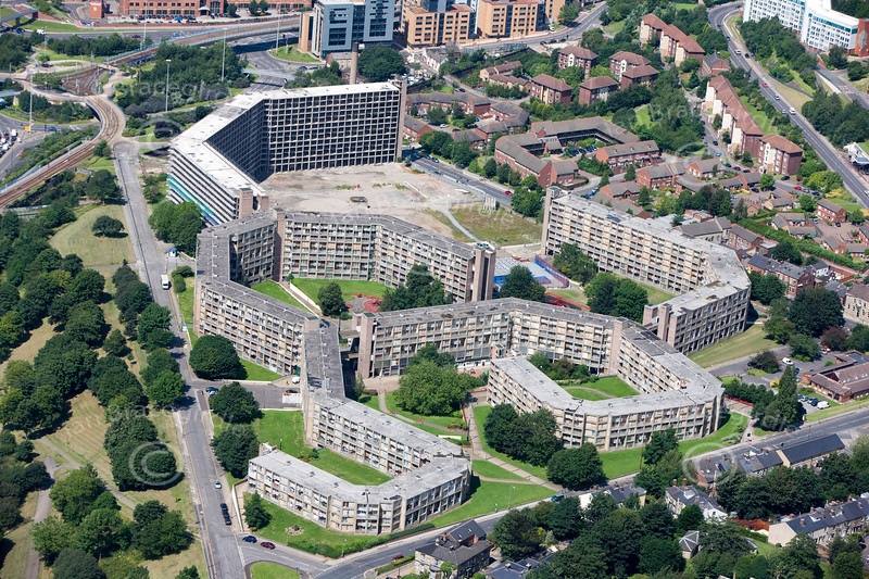 Aerial photo of Park Hill flats.