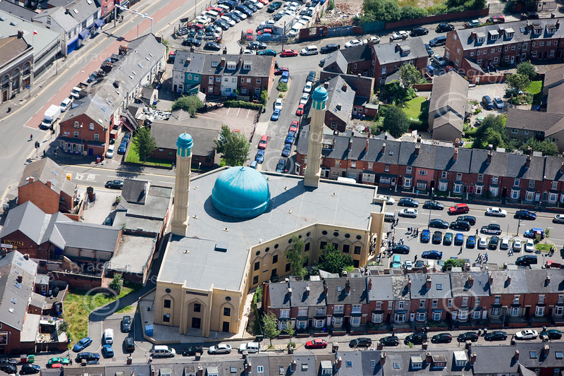 Aerial photo of The Medina Mosque, Sheffield.