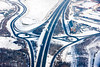 Aerial photo of The Parkway in Sheffield in snow.