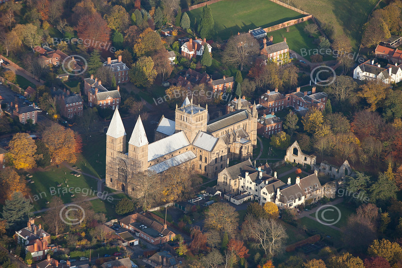 Southwell Minster from the air.