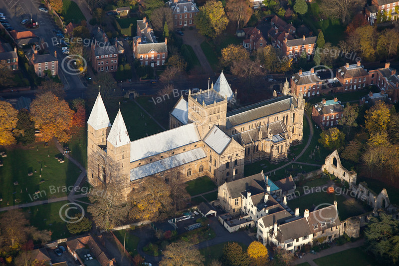 Aerial photo of Southwell Minster.