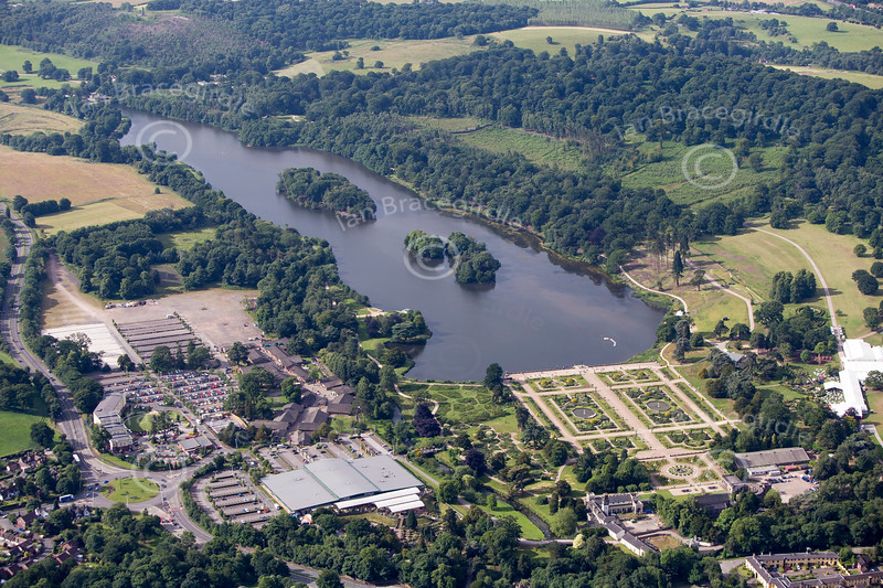 Trentham Gardens in Stoke on Trent from the air.