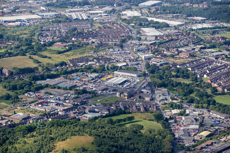 Stoke on Trent in Staffordshire from the air.