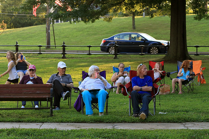 The Townsend Military Band performed at the weekly Thursday night's Summer Band Concert on the Town Common. Many bring chairs to sit around the bandstand and enjoy the music. SENTINEL & ENTERPRISE/JOHN LOVE