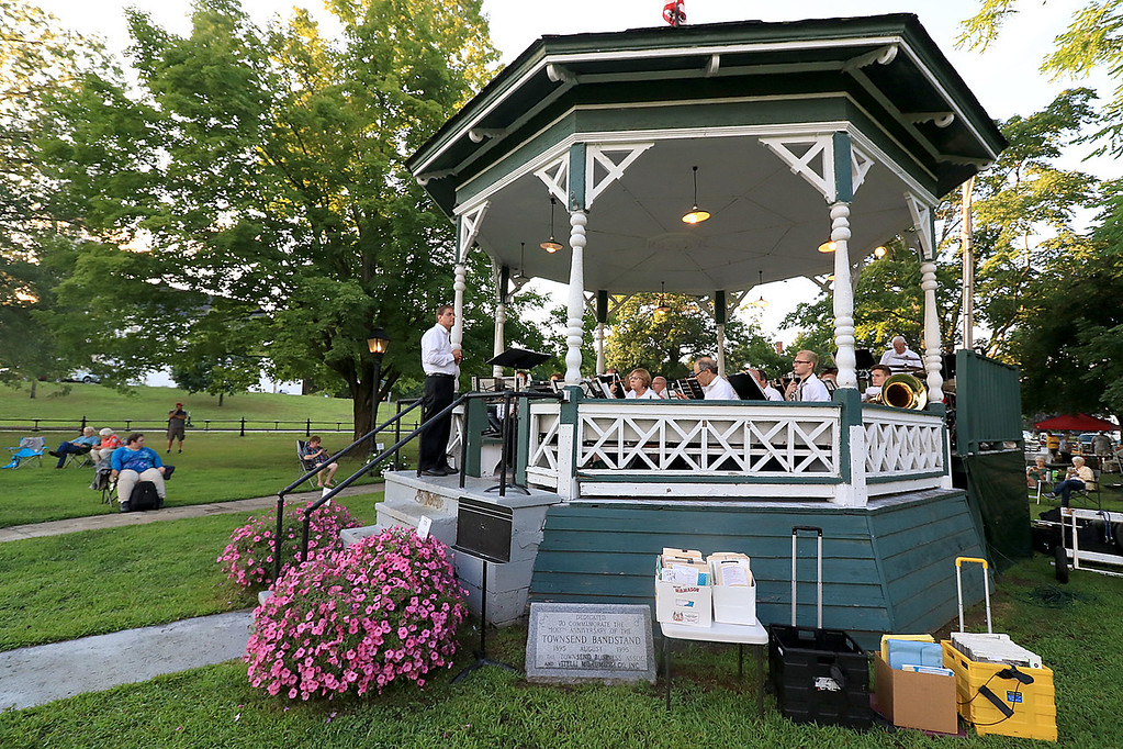 . The Townsend Military Band performed at the weekly Thursday night\'s Summer Band Concert on the Town Common in the band stand. SENTINEL & ENTERPRISE/JOHN LOVE