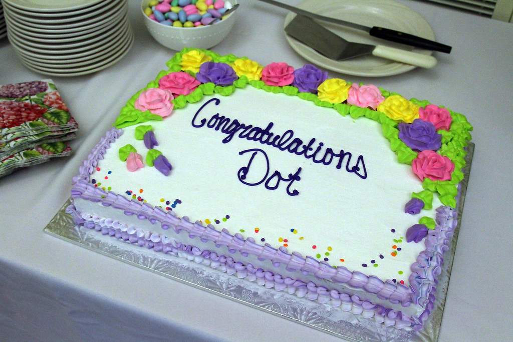""". Cake made up for Dorothy \""""Dot\"""" Manceau, in celebration of her being awarded the Boston Post Cane, the Townsend resident will turn 99 on May 20th. Nashoba Valley Voice Photo by David H. Brow."""