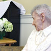 """Dorothy """"Dot"""" Manceau, talks to one of her daughters, Mary Ford, during a live stream from Okla.,as she awaits the start of her being awarded the Boston Post Cane. Nashoba Valley Voice Photo by David H. Brow"""