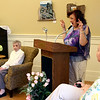 """Dorothy """"Dot"""" Manceau, on left, listens to her daughter, jeanne Grosvenor, speaking about her, and on right is Karin Canfield Moore, Director of Townsend Senior Center, during Boston Post Cane award ceremony. Nashoba Valley Voice Photo by David H. Brow"""