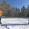 Son and dad, Brandon Stuart 26 and Mike Stuart both from Townsend, try their luck at the annual Ice Fishing Derby held at Townsend Rod & Gun Club. Nashoba Valley Voice Photo by David H. Brow.
